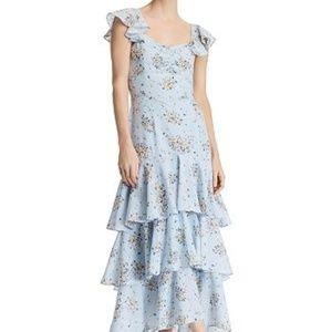 Aqua Bloomingdale's Blue Floral Print Maxi Dress S